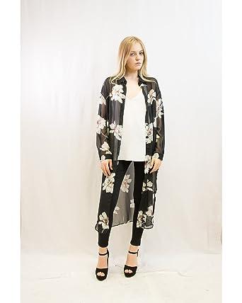 c161244d43 Lady big floral black white printed chiffon maxi shirt dress holiday beach  wear