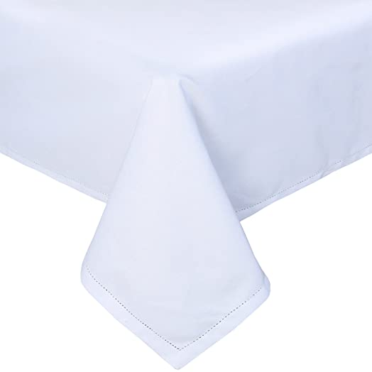 Homescapes White Cotton Tablecloth 6 To 8 Seater Large Rectangular 137 X  228 Cm (54