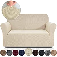 Rose Home Fashion RHF Jacquard-Stretch Loveseat Slipcover Slipcovers for Couches and Loveseats, Loveseat Cover&Couch Cover for Dogs, 1-Piece Sofa Protector(Loveseat:Beige)