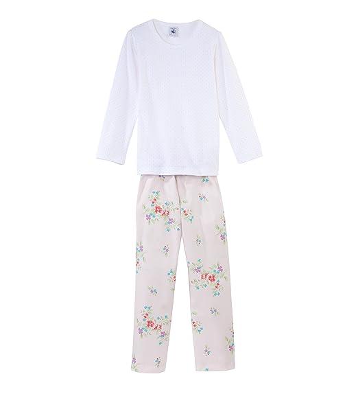 Petit Bateau - Pijama con cuello barco de manga larga para niña, talla 10 años (140 cm), color negro 104: Amazon.es: Ropa y accesorios