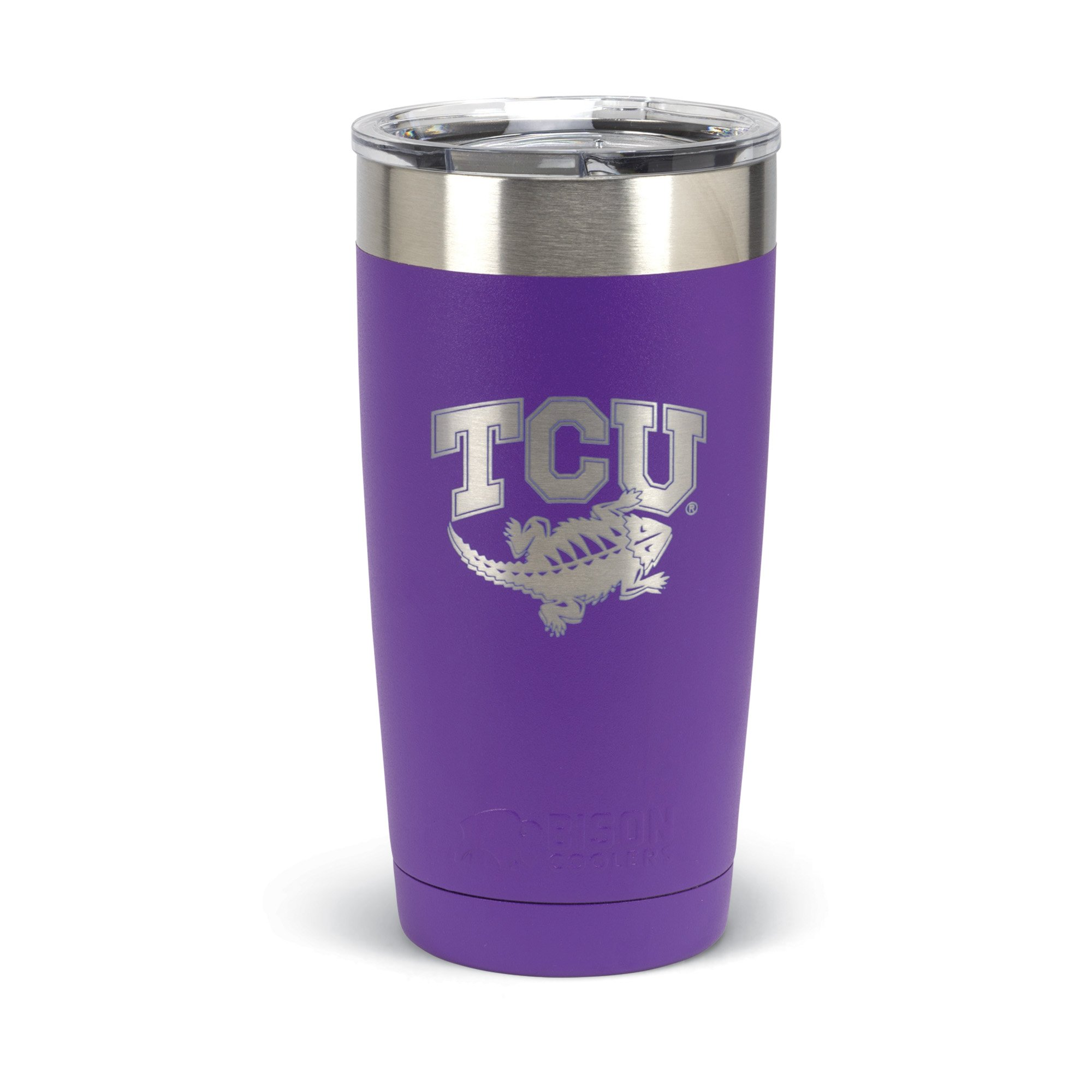 Texas Christian University Horned Frogs Powder Coated Premium Grade Stainless Steel TCU 20 Ounce Insulated Tumbler with Lid