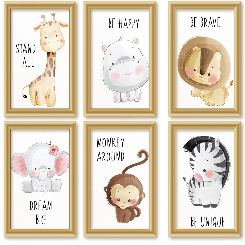ohne Rahmen Ciujoy 6er Set Bilder Babyzimmer Deko Junge M/ädchen DIN A4 Poster Kinderzimmer Baby-Waldtiere Safari Afrika Tiere Tierposter Dekoration