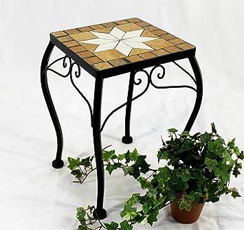 Mosaik Beistelltisch rund Blumenhocker Blumenständer Mosaiktisch Quadrat 3er Set