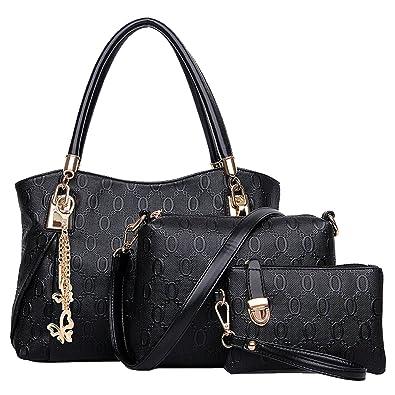 Win8Fong Womens 3 Pcs Set Vintage PU Leather Handbag Shoulder Bag Tote Satchel Hobo Bag (
