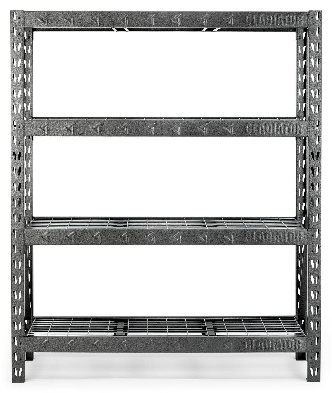Gladiator GARS604TEG 60'' Wide Heavy Duty Rack with Four 18'' Deep Shelves, Hammered Granite