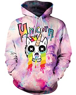 ENLACHIC Women Kids Simulation 3D Alpaca Unicorn Print Hoodies Pullovers Sweatshirt