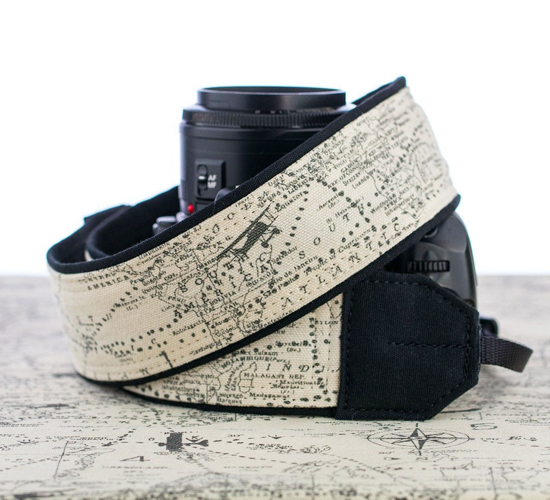Camera Strap, Map, Airplane, dSLR, SLR or Mirrorless Cameras 255