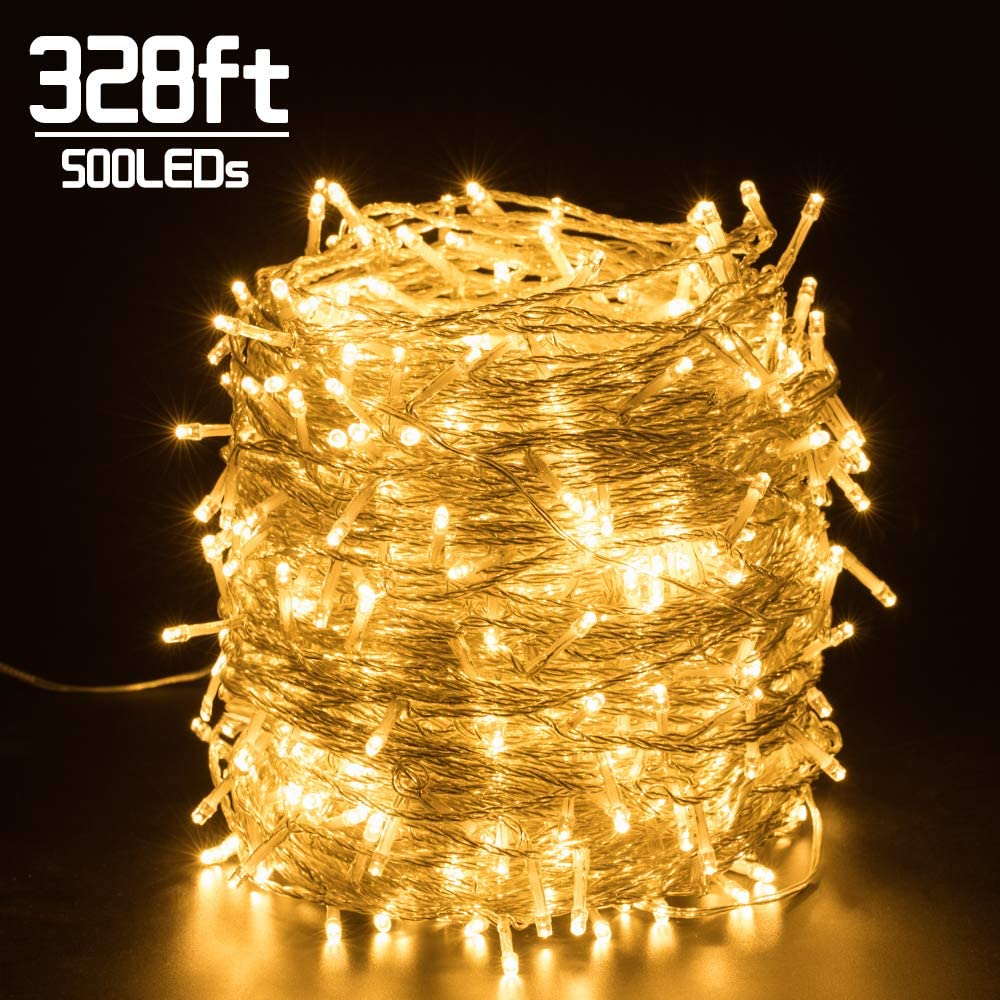 Quntis 328FT 500 LEDs Christmas Decorative Lights - Outdoor & Indoor Valentines Day String Lights 8 Modes Super Long Holiday Fairy Lights UL588 Approved for Home Garden Wedding Party, Warm White