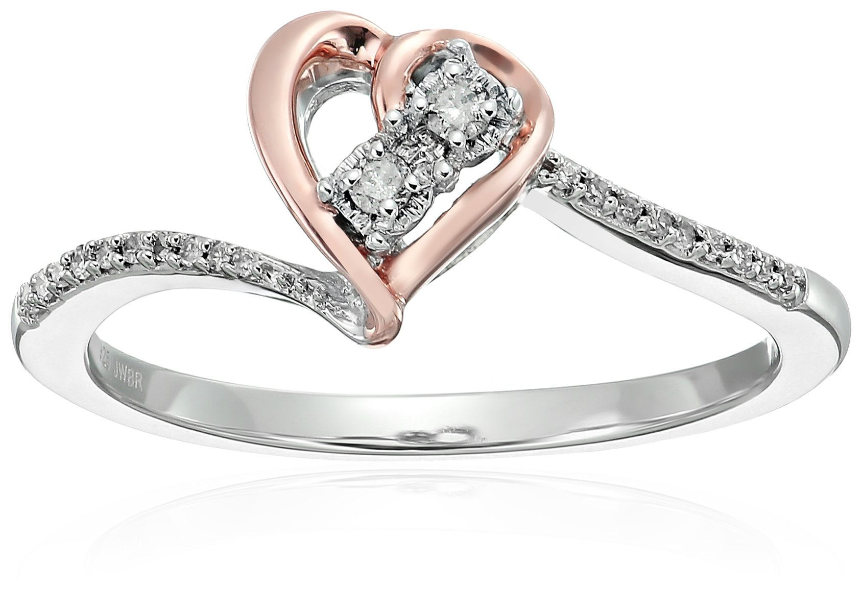 14k Rose Gold Over Sterling Silver Diamond Heart Promise Ring, Size 7 (1/10cttw)