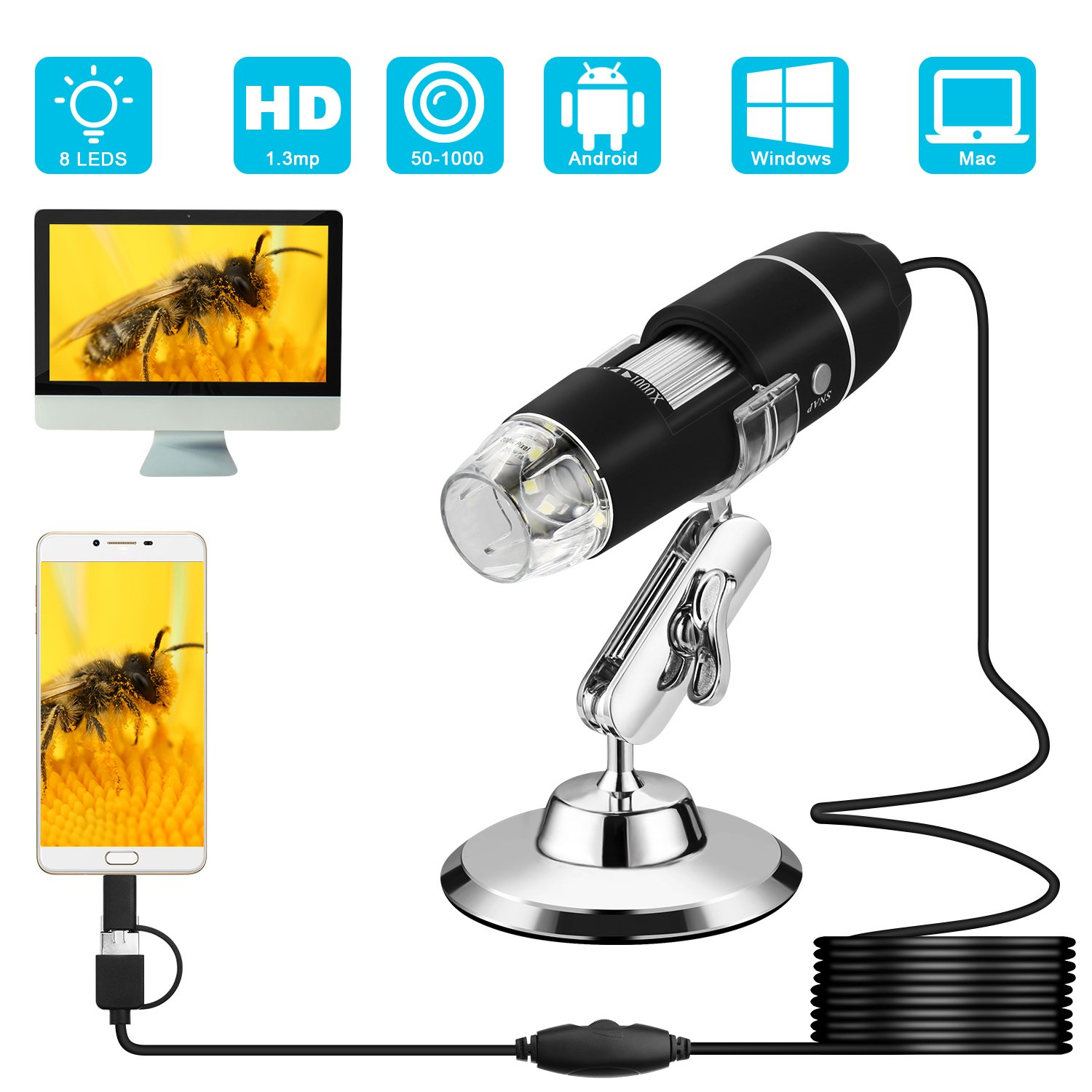 USB Microscope, VSATEN 3 In 1 Digital 50X-1000X Magnification Microscope 2.0MP Endoscope Camera with 8 Leds Light & Rotatable Stand Holder for Android Smartphone, Tablet, Windows & Macbook OS Computer