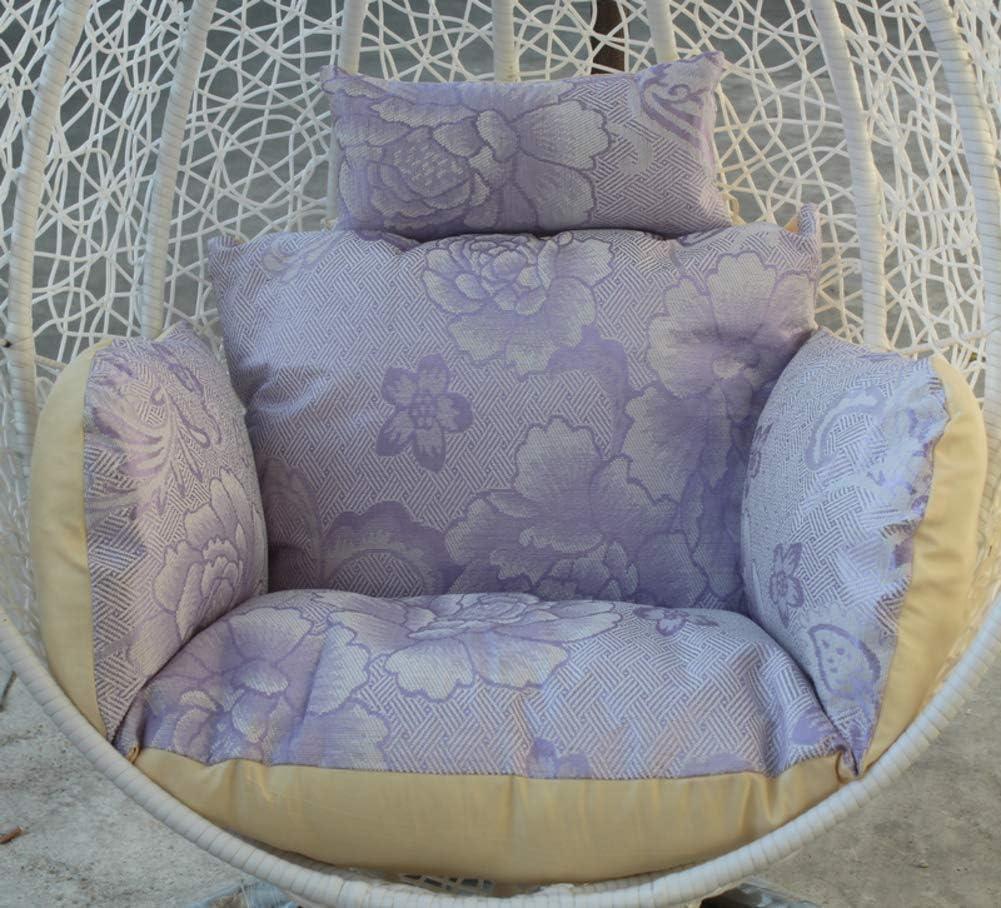 LYHY Cojines de Silla de Hamaca Colgantes de Verano, Columpio Colchón de Silla de Nido de pájaro Asiento Doble Acolchado Antideslizante-púrpura