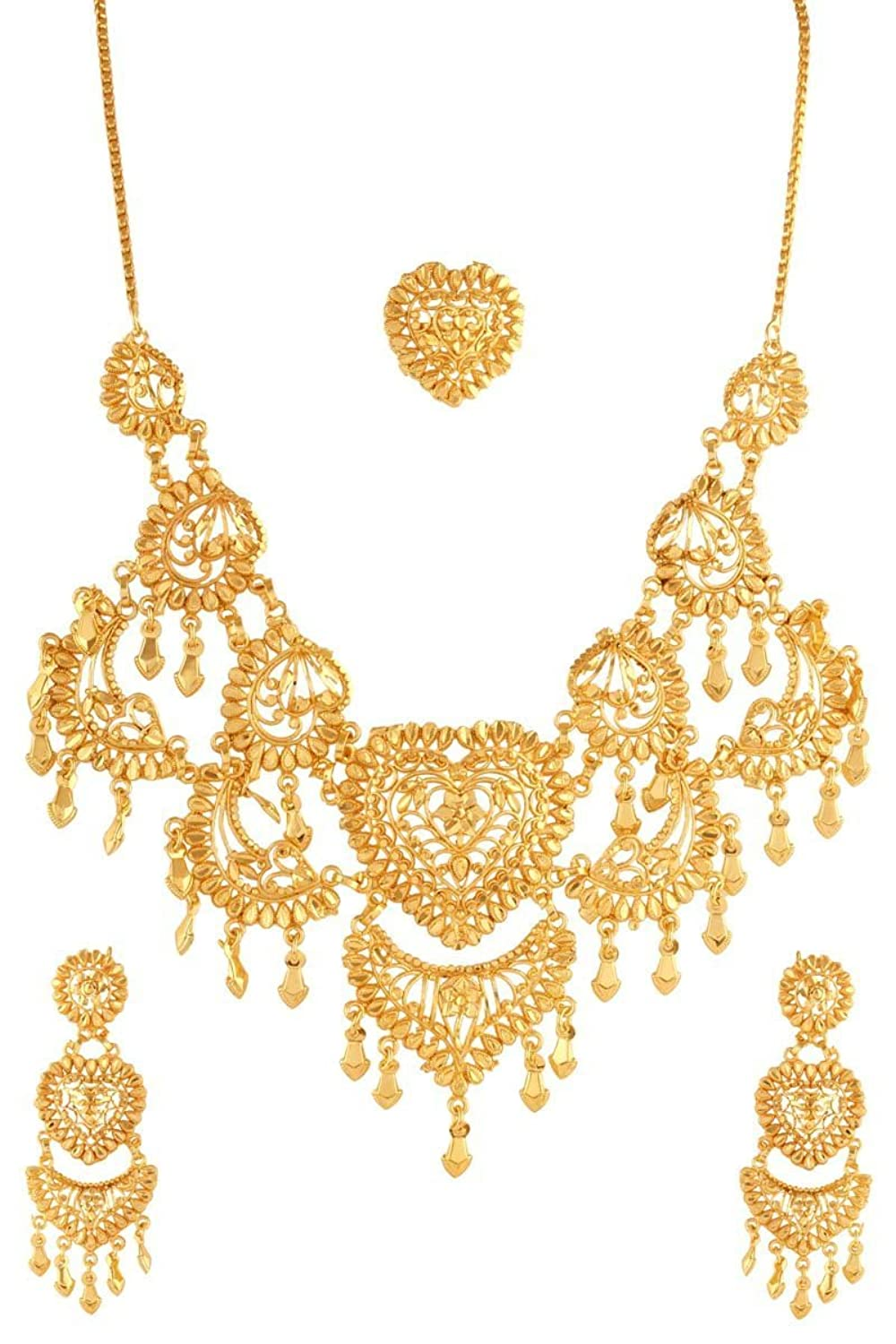 Feature Peacock Pendant One Gram Gold Plated Real Look 1 Set Perhiasan India Buy Variations Stunning Heart Shape Necklace For Women Matching Ring Vd17214 Online At Low Prices In Amazon Jewellery Store