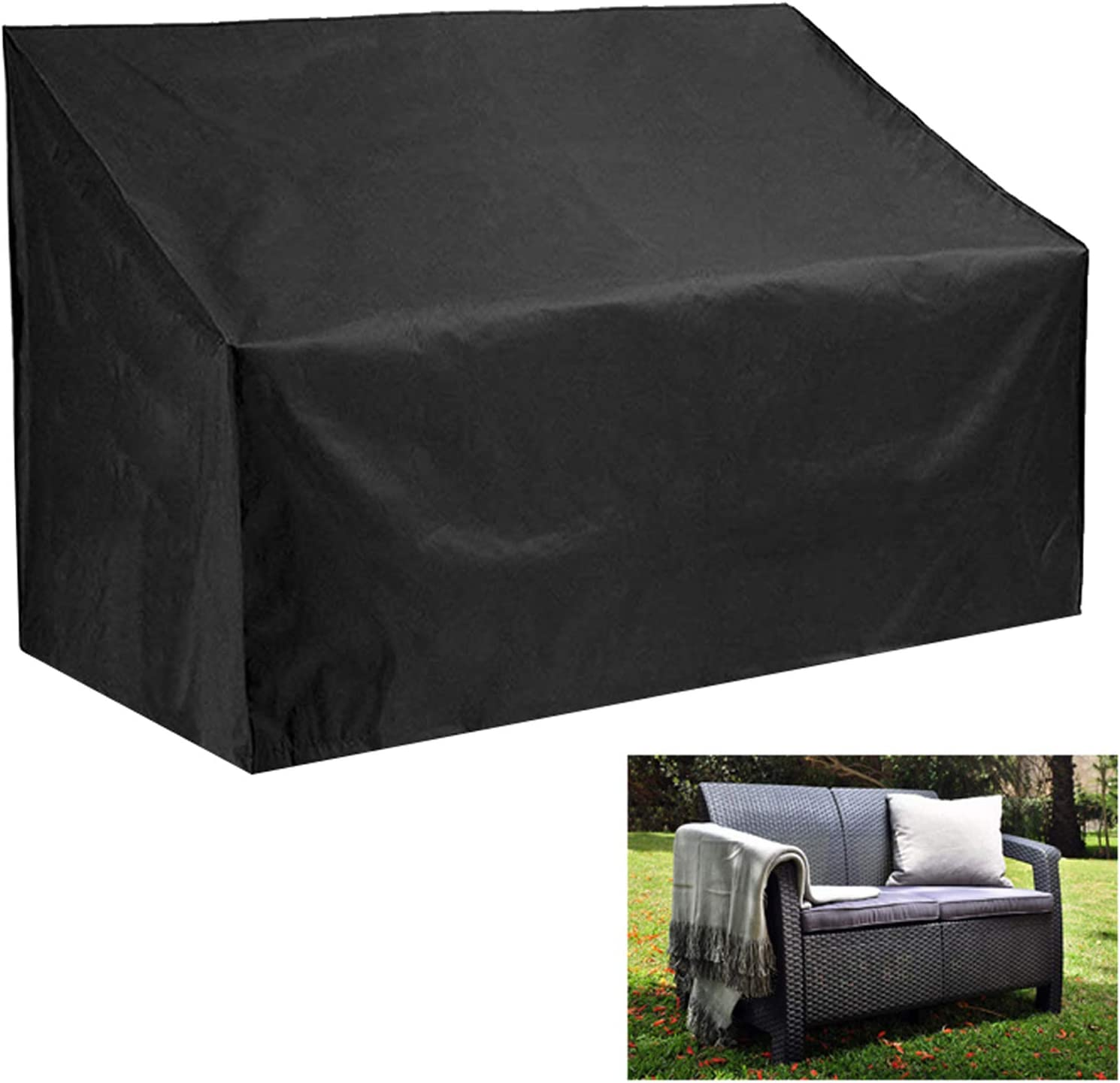 Oslimea Patio Loveseat Cover Patio Bench Cover 3 Seater, Durable Waterproof Outdoor Long Chair Cover Lounge Sofa Cover Loveseat Cover, Outdoor Patio Furniture Cover for Loveseats, Black: Kitchen & Dining