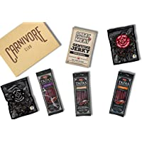 Carnivore Club Gift Box Jerky & Meat Sticks Sampler - 6 Meat Snacks from Derf Jerky & Espuna & Great Canadian Meats - Comes in a Carnivore Club Themed Gift Box - Great Gift for Men & Women