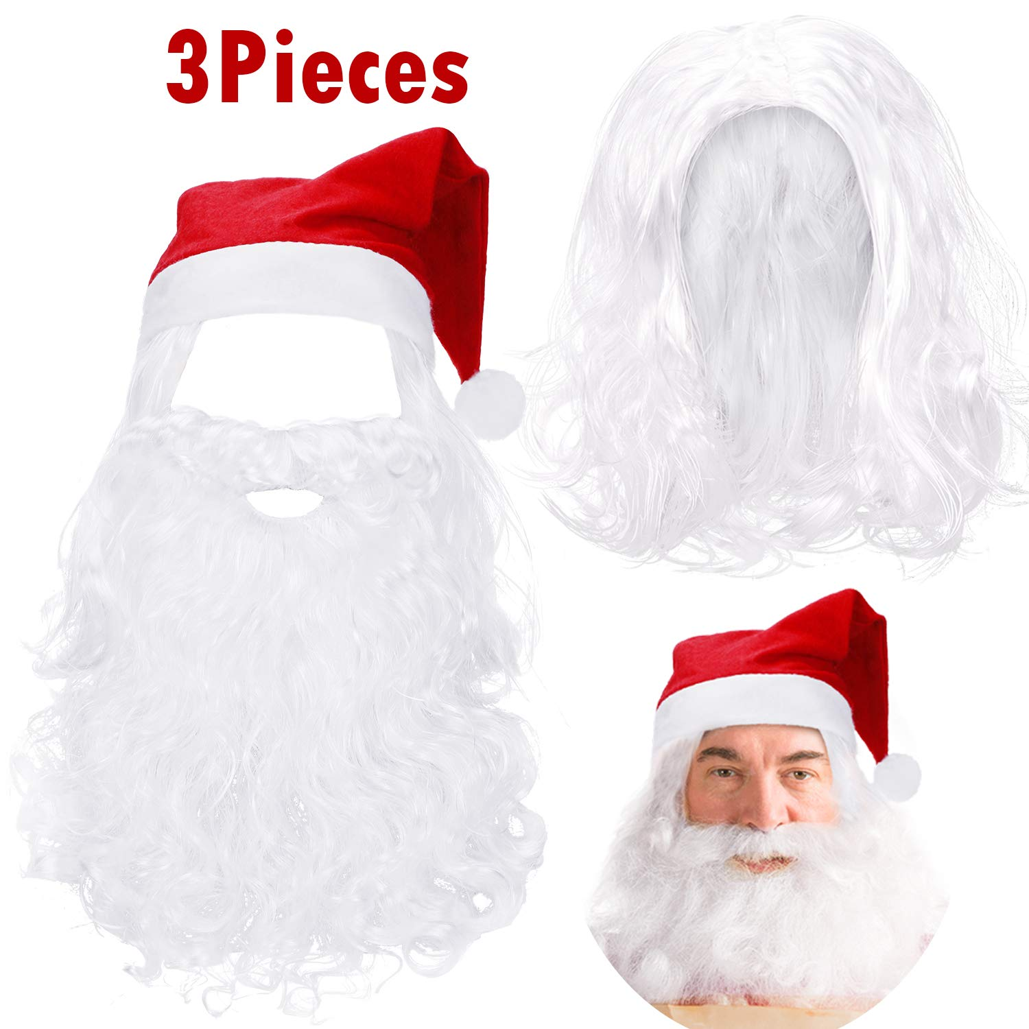 Christmas Wig Set Santa Claus Wig White Long Santa Beard and Christmas Hat for Christmas Party Costume by WILLBOND