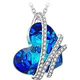 NINASUN Coeur de l'océan Argent 925 Collier Pendentif Femme Bleu Coeur Composés de Cristaux Swarovski et Boite-Cadeau, sans Allergène, 45+6cm Chaîne d'allonge