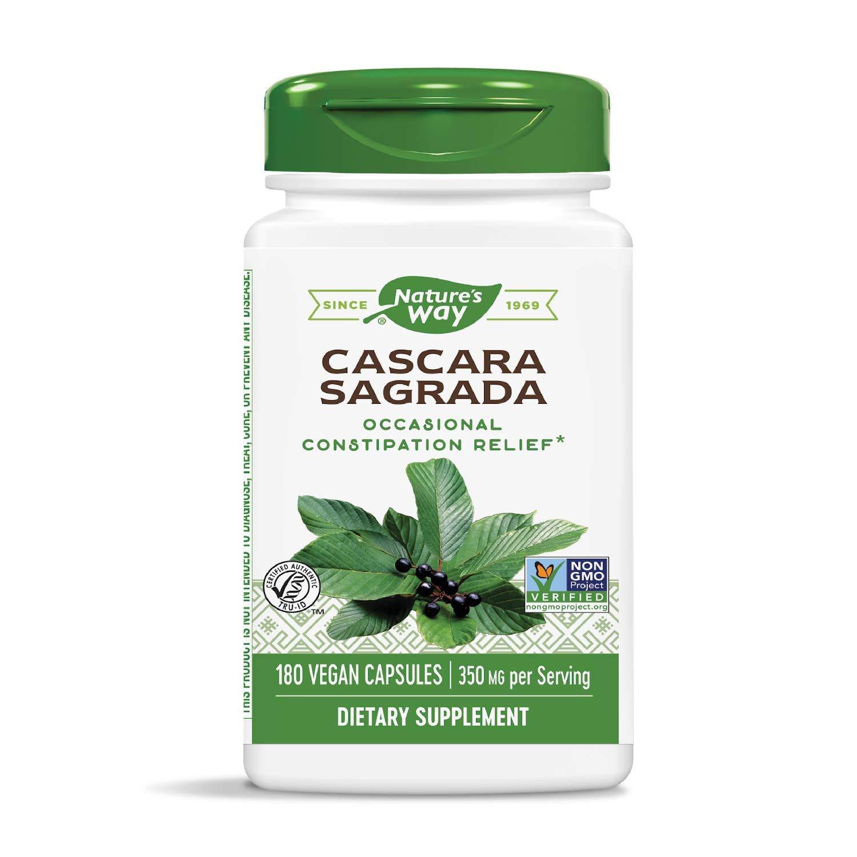 Nature's Way Cascara Sagrada Bark, 350 mg per serving, 180 Vegetarian Capsules (Packaging May Vary)