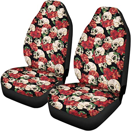 STUOARTE Rose Skull Printed Car Seat Cover Full Set Airbags Compatible and Split Bench Cover Garden Flower Auto Decorative Seat Covers Elastic Flat Cloth Seat Cover