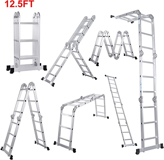 Lifewit Escalera Plegable Ajustable,En 4 Posiciones,Altura 3.8m,Escalera Tijera 3x4 Multifunción,Aleación De Aluminio,Carga Máximo 150 kg: Amazon.es: Hogar