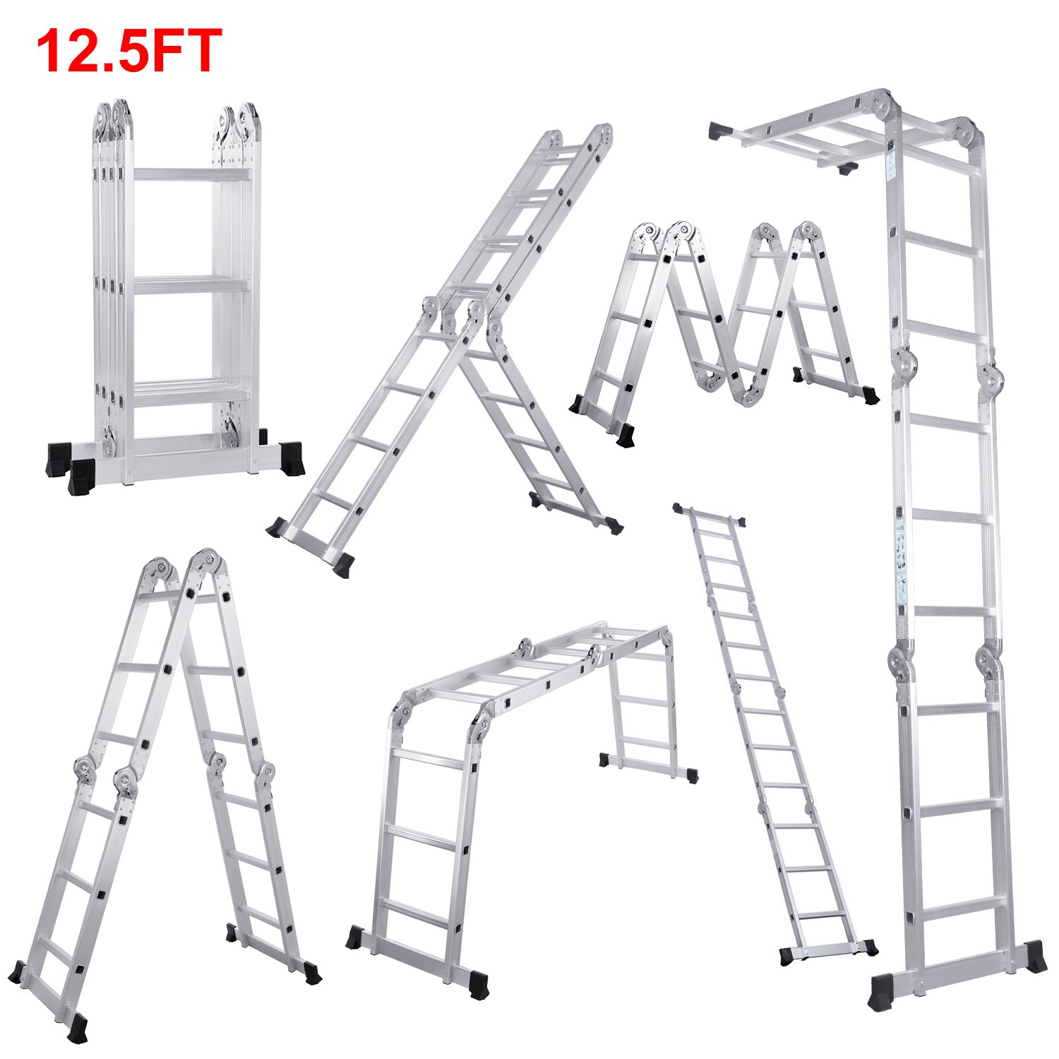 Lifewit 12.5ft Folding Ladder Aluminum Extension 7 in 1 Multi Purpose Extendable Platform Scaffold Heavy Duty by Lifewit