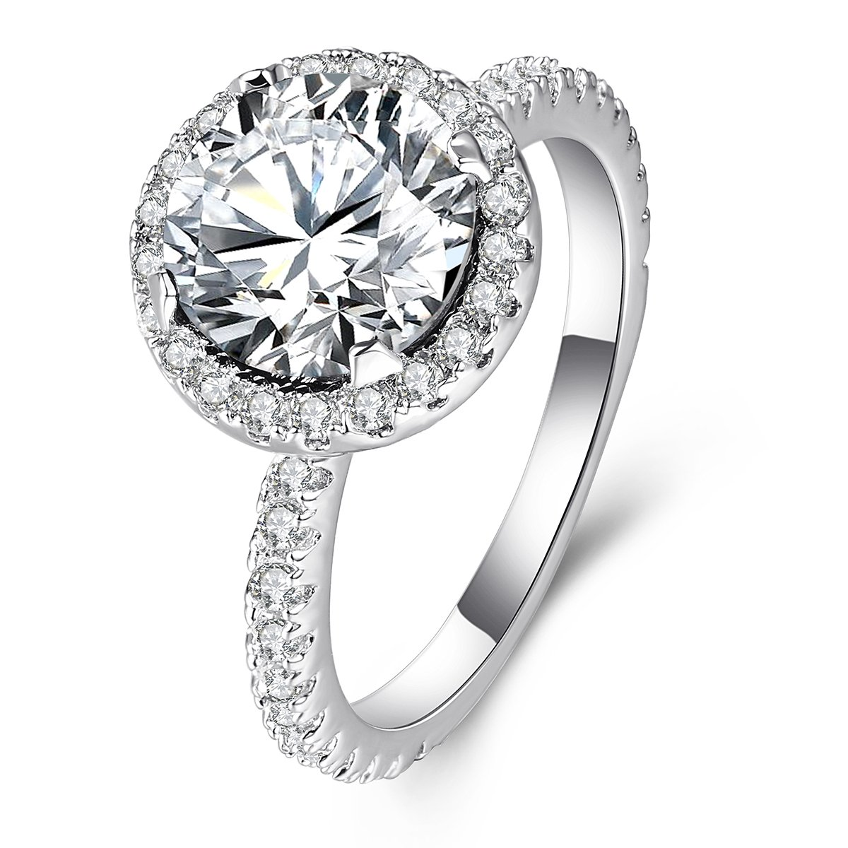 3 Carat Round CZ Solitaire Ring for Women White Gold Plated, Halo Style Shining Jewelry Gifts for Her Size 5-10 Shengtai ST324Z