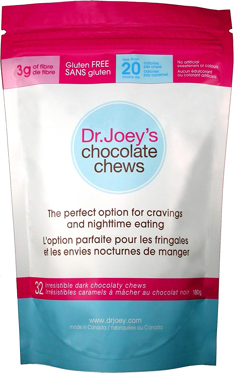 Dr. Joey's Chocolate Chews - Premium Dark Chocolate Candies That Help Alleviate After Dinner Cravings and Promote Appetite Control -20 Calories per chew, Gluten Free, and 3g of Fiber. 32 Chews