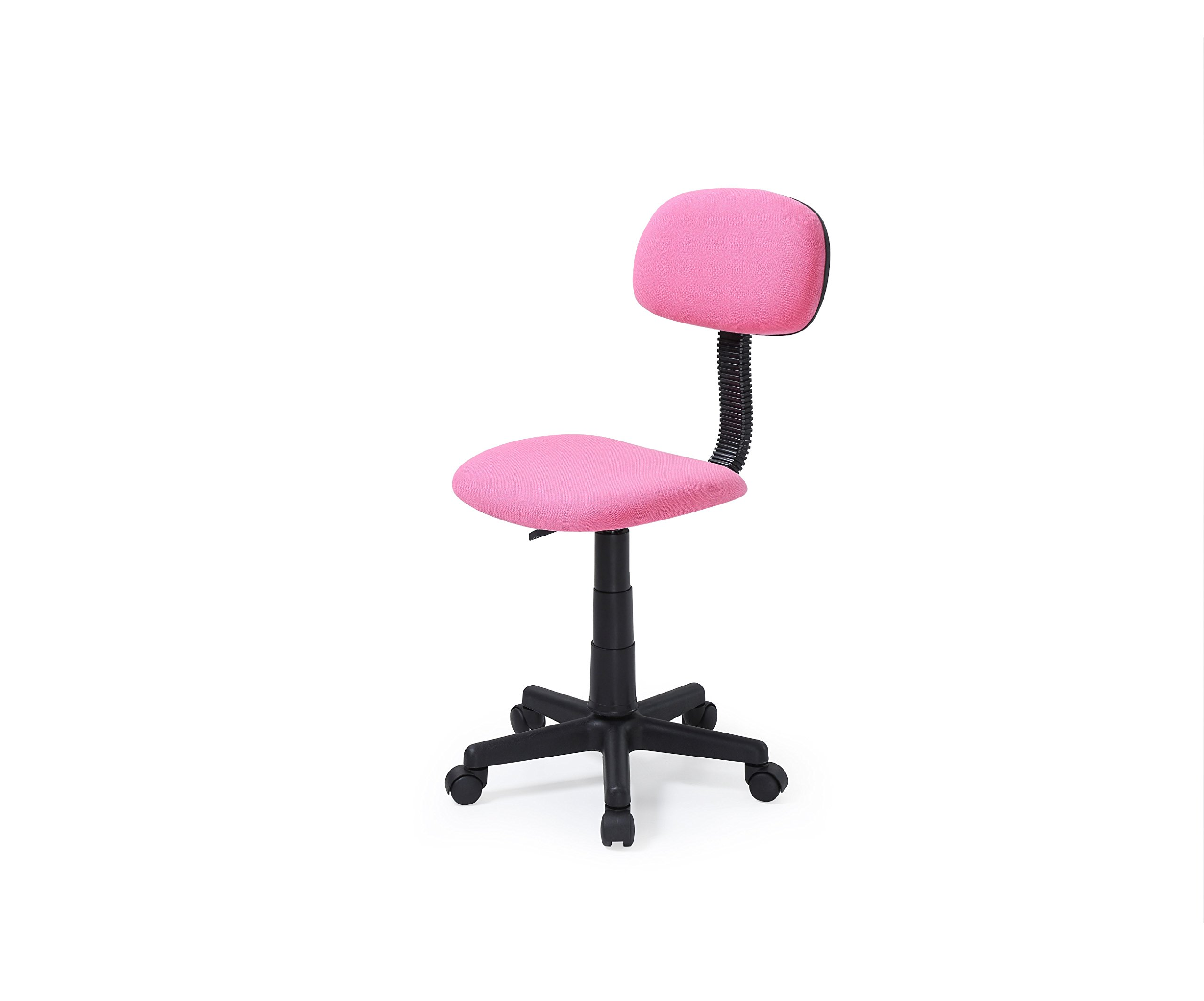Hodedah Armless Task Chair with Adjustable Height and Swivel Functionality, Pink