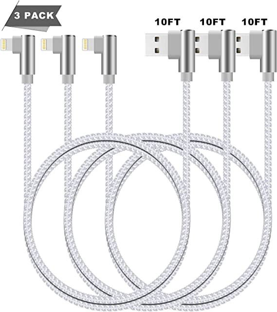 Grey,10ft Right Angled iPhone Charging Cable 3 Pack Lightning Cable 10 FT Charge /& Data Transfer Cord Compatible with//iPhone XS//Max//XR//X//8//7//6//iPod//iPad.