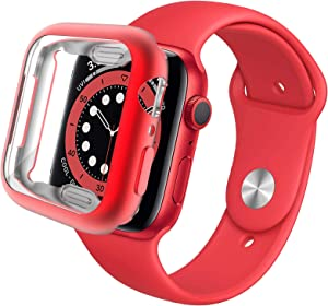 Miimall Compatible Apple Watch 40mm Case with Screen Protector Matte Soft TPU Plated Anti-Scratch Full Protective Case Protector Cover for Apple Watch 40mm Series SE/6/5/4(Red)