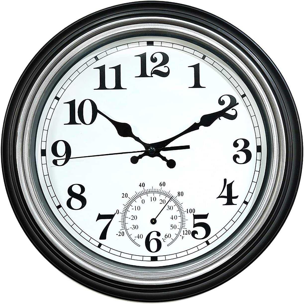 12-Inch Indoor/Outdoor Retro Silent Non-Ticking Waterproof Wall Clock with Thermometer,Battery Operated Quality Quartz Round Clock Wall Decorative for Patio/Home