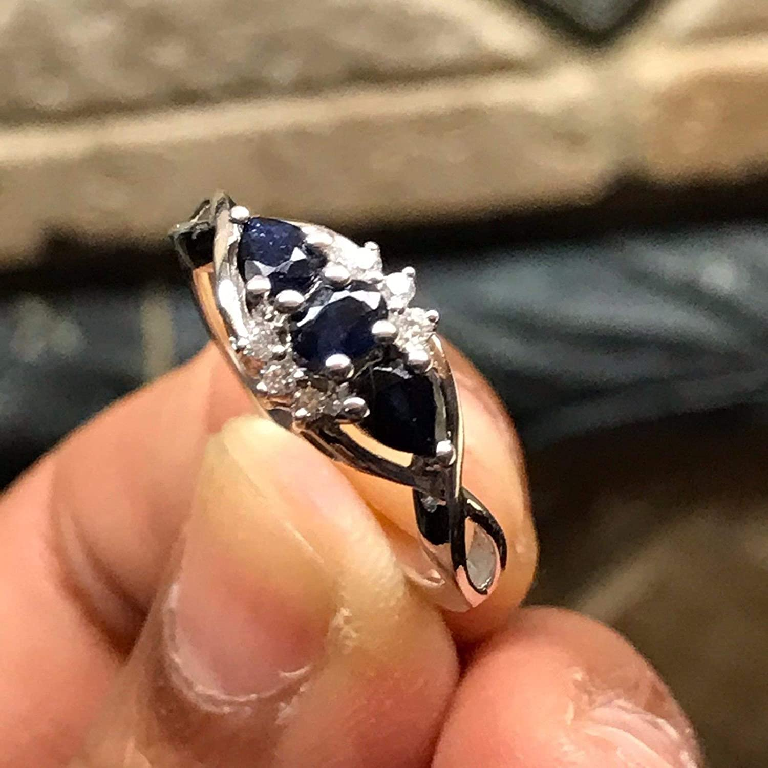 Natural Blue Sapphire Ring with 6 Accents Sterling Silver Size 6.75