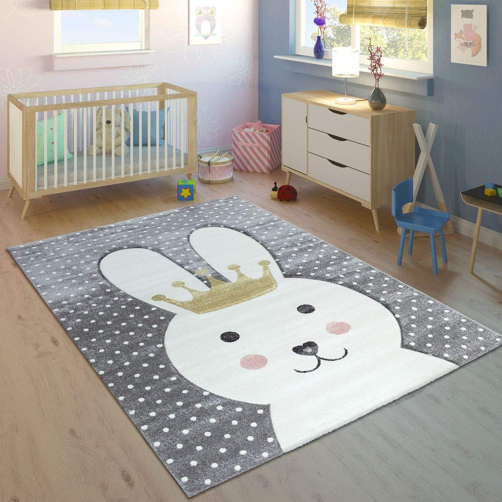 Paco Home Kinderteppich Kinderzimmer Konturenschnitt Gepunktet Hase Krone Modern Grau, Grösse:120x170 cm