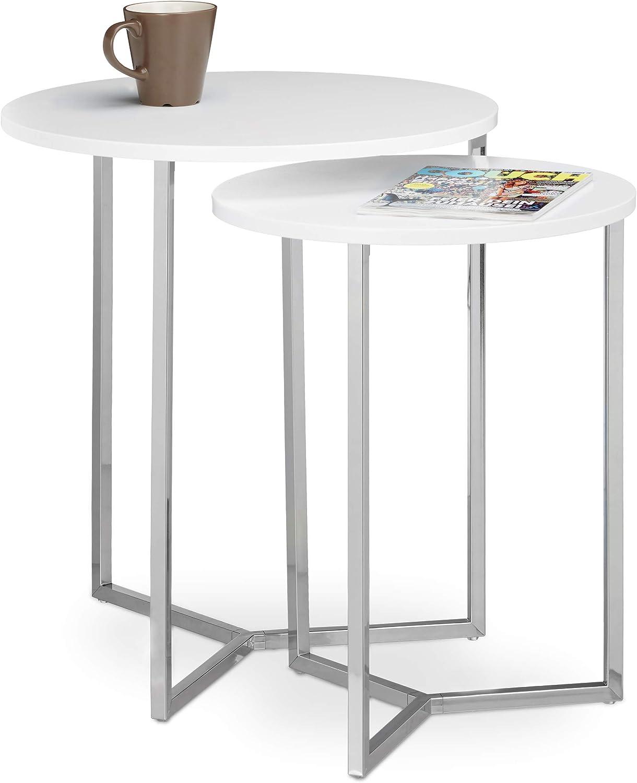 Relaxdays Juego de mesas Redondas, Metal, Blanco, 50x50x57 cm, 2 Unidades