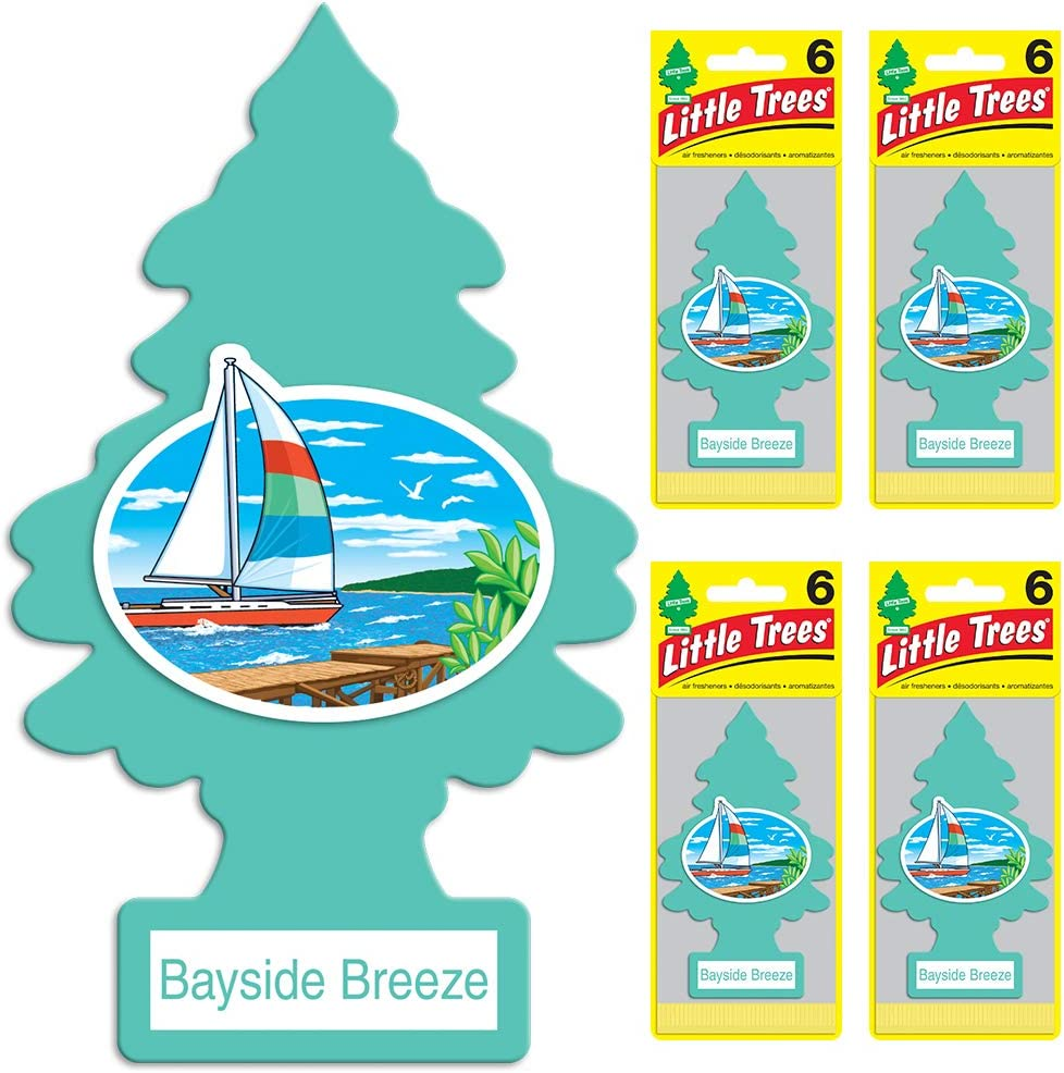 LITTLE TREES Car Air Freshener   Hanging Tree Provides Long Lasting Scent for Auto or Home   Bayside Breeze, 6-packs (4 count)