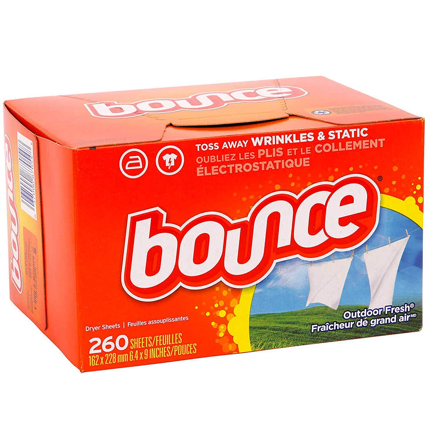 Bounce Fabric Softener Dryer Sheets | Outdoor Fresh Scent – 260 Sheets – Keeps Clothing Soft, Fresh and Smelling Great