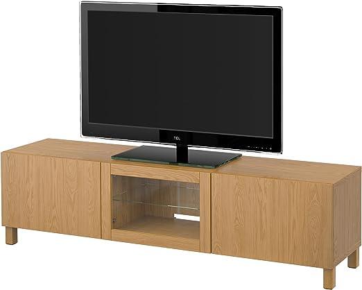 IKEA BESTA - Mueble TV con cajones y puertas de roble efecto Lappviken: Amazon.es: Hogar