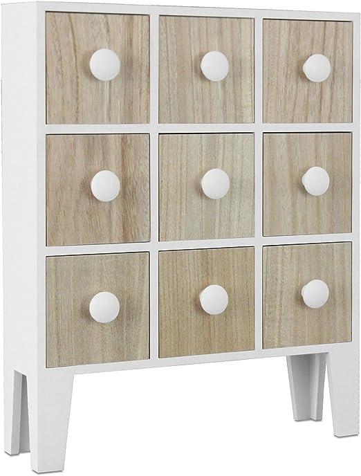 Multistore 2002 Kleiner Schrank 38x12x48cm Mit 9 Schubladen Weiss