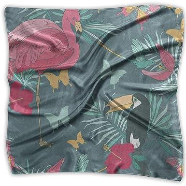 Pañuelo cuadrado, hoja verde, flamenco, pájaro, pañuelo para el ...