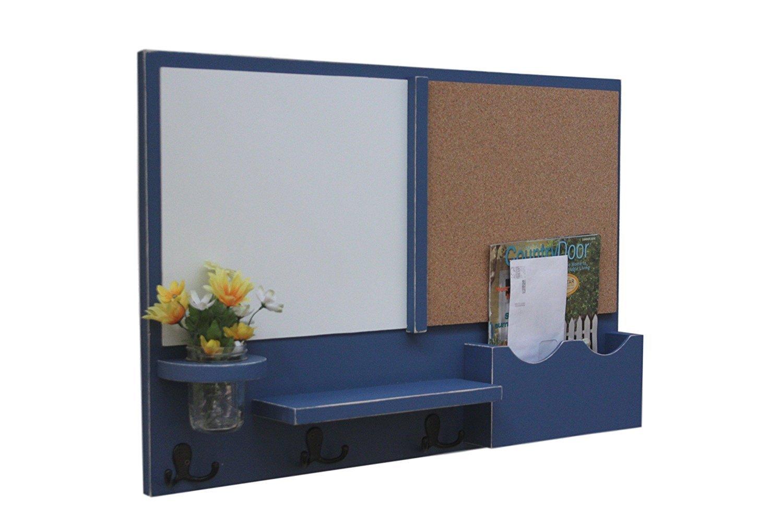 Legacy Studio Décor Message Center with White Board & Cork Board Letter Holder Coat Rack Key Hooks (Smooth, Denim)
