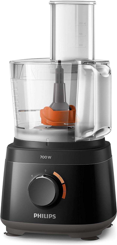 Philips Robot de cocina HR7320/10 - Robot de cocina compacto todo en uno, amasa, bate, corta, ralla y licúa, 19 funciones, hasta 5 raciones, 700 W, 1,5 L, batidora de vaso incluido,