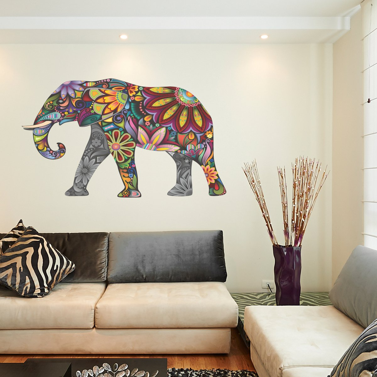 Awesome Abstract Elephant Full Colour Wall Sticker Wall Decal Wall Art Vinyl Wall  Mural   Large Size (Other Sizes Available): Amazon.co.uk: Kitchen U0026 Home