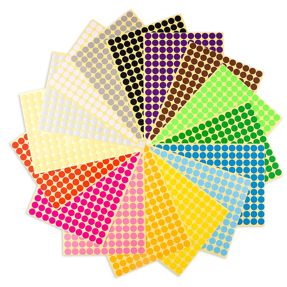 YOTINO 5376 Self Adhesive Dot Stickers 10mm Sticky Coloured Dots Easy Peel Spots
