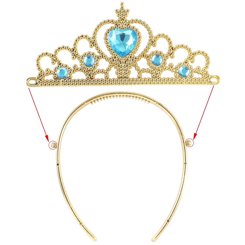 Tacobear 8 Pezzi Jasmine Costume Accessori Principessa con Corona Principessa Tiara Diadema Bacchetta Magica Fascia per Capelli Guanti Collana Orecchini Principessa Gioielli per Bambina