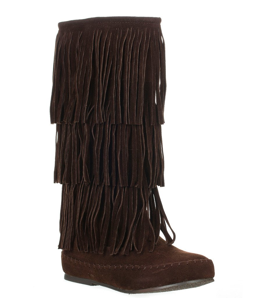 Pierre Dumas Womens Apache-4 Moccasin Fringe Boots B019YFHH2K 5.5 B(M) US|Brown