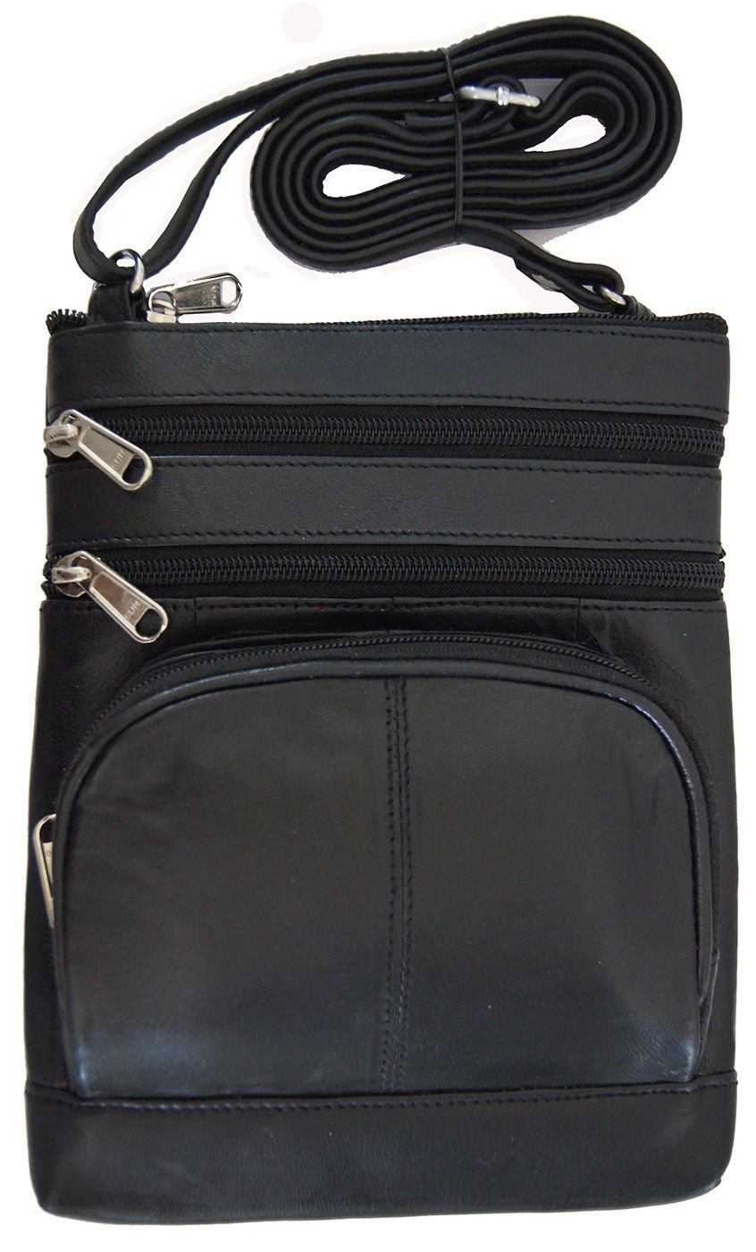 Black Women And Girls Genuine Leather Cross Body Messenger Handbag, Purse