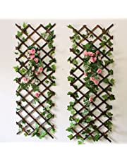 Youmu madera pared enrejado expansión jardín flor planta escalada valla marrón 150 cmx30 cm, 1pz