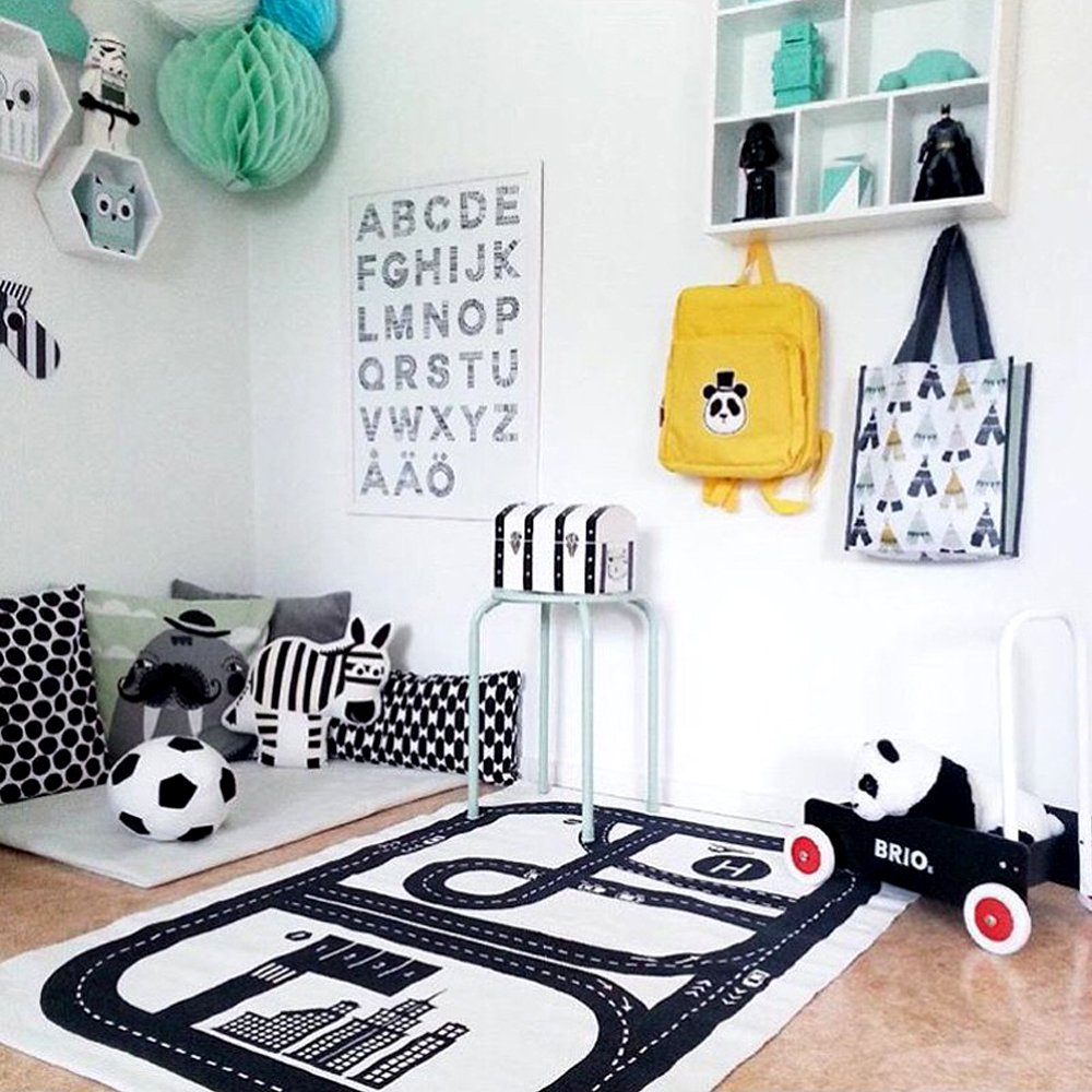Hiltow Children Area Rug Baby Racing Game Blanket Adventure Carpet Crawling Mat Playmats Perfect Rug for Kid's Bedroom K-28