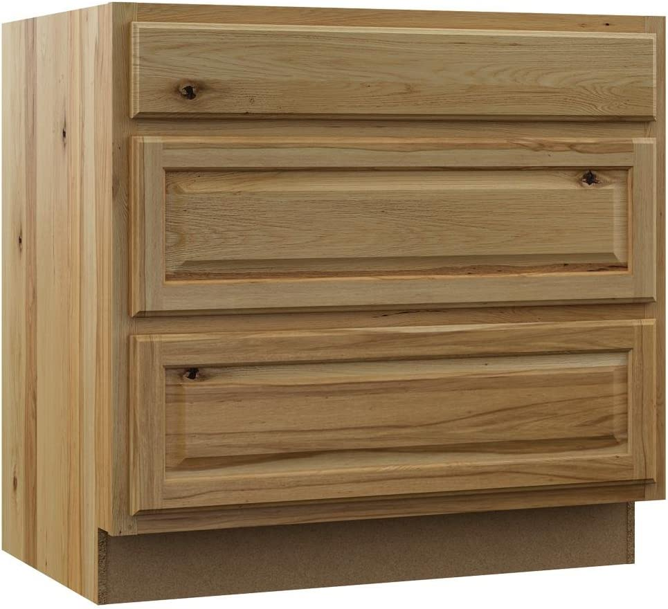 Amazon Com Hampton Bay Hampton Assembled 36 X 34 5 X 24 In Base Pots And Pans Drawer Kitchen Cabinet In Natural Hickory Kitchen Dining