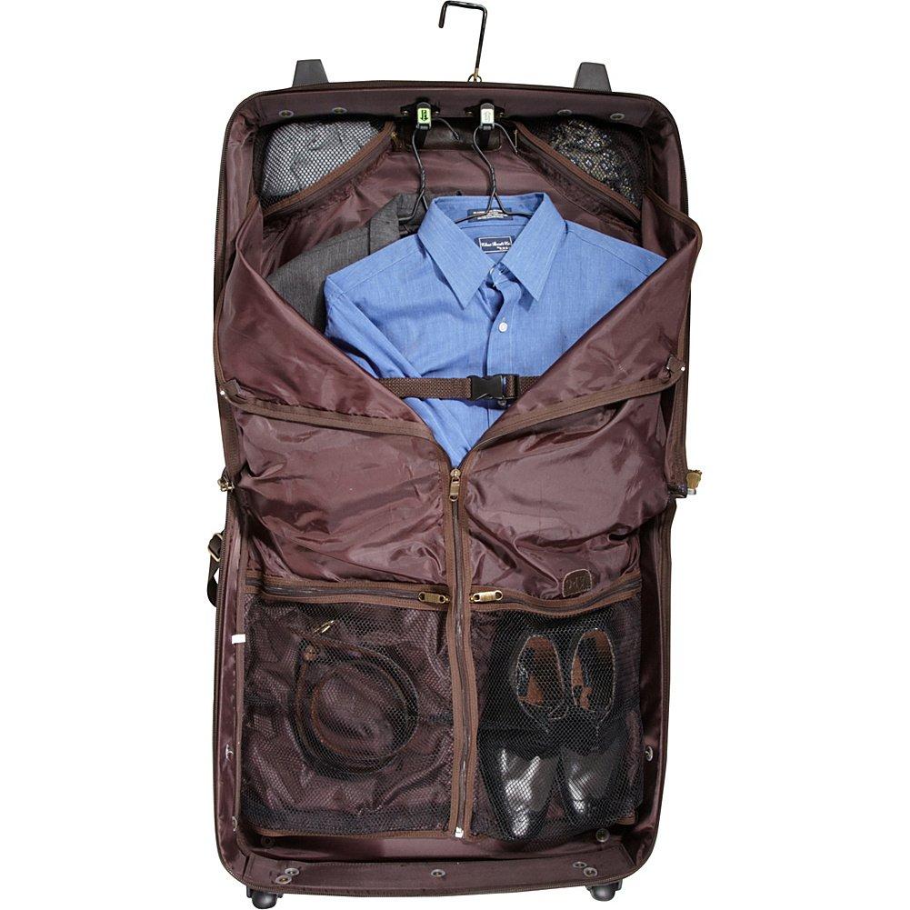 Chestnut Brown 2484-3 AmeriLeather Leather Rolling Garment Bag