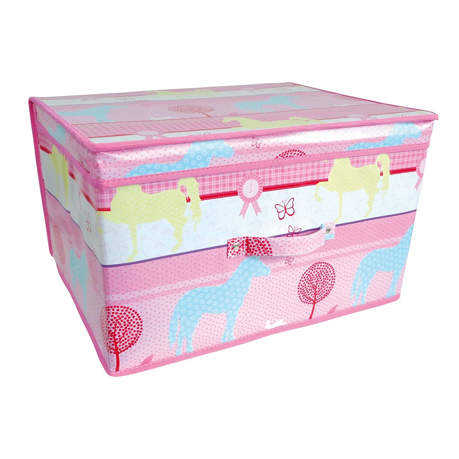 Horses Foldable Pop Up Room Tidy Storage Chest Toy Box, Fabric, Pink, 50 x 30 x 40 cm Country Club Horses-Pink-Storage
